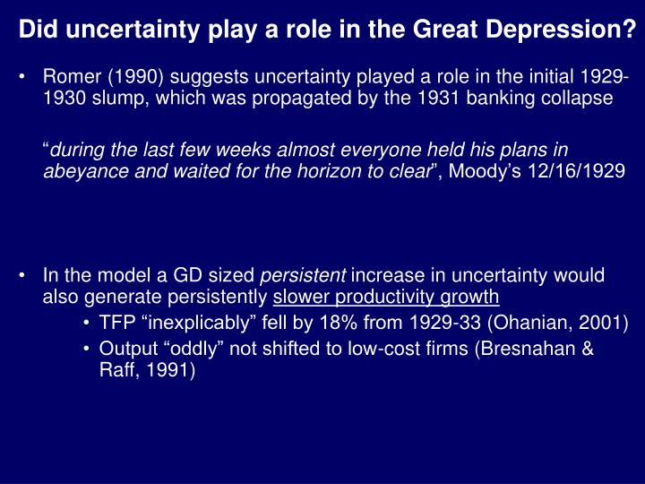 Did uncertainty play a role in the Great Depression?