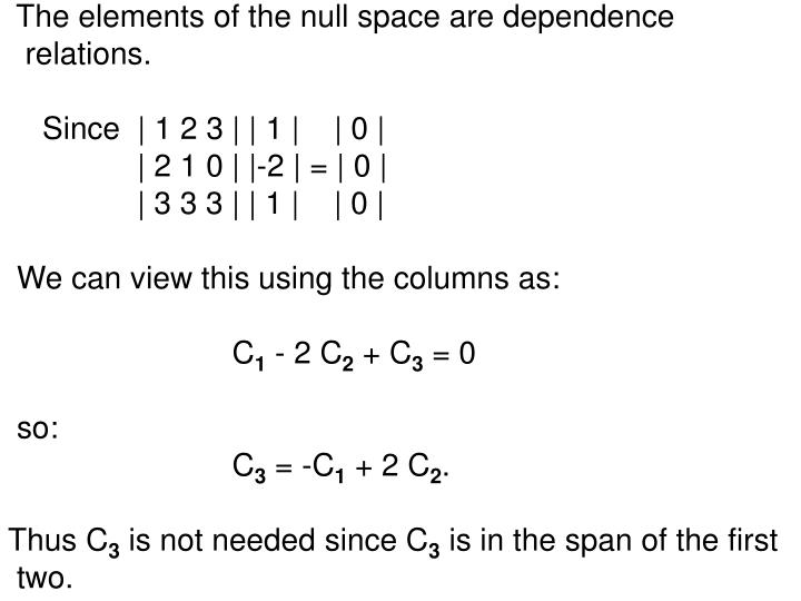 The elements of the null space are dependence