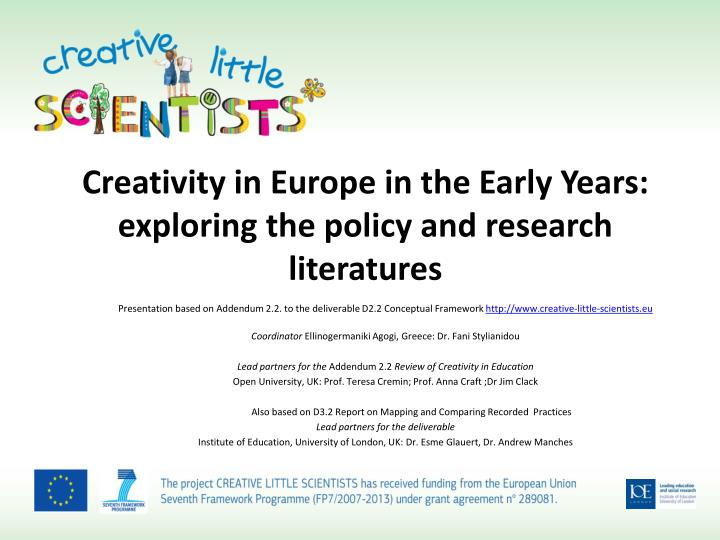Creativity in europe in the early years exploring the policy and research literatures