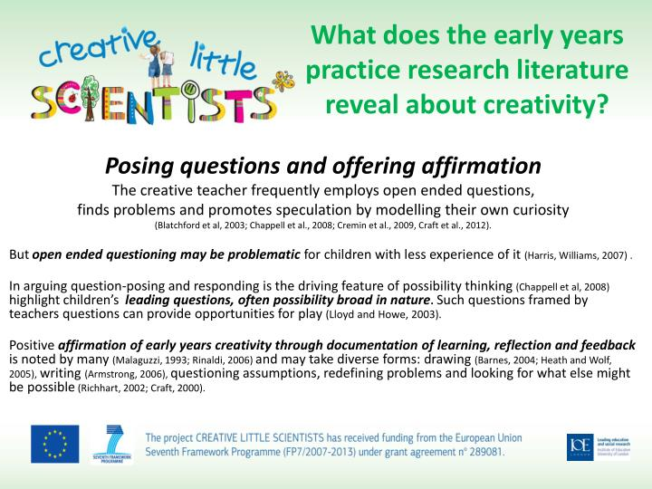 What does the early years practice research literature reveal about creativity?