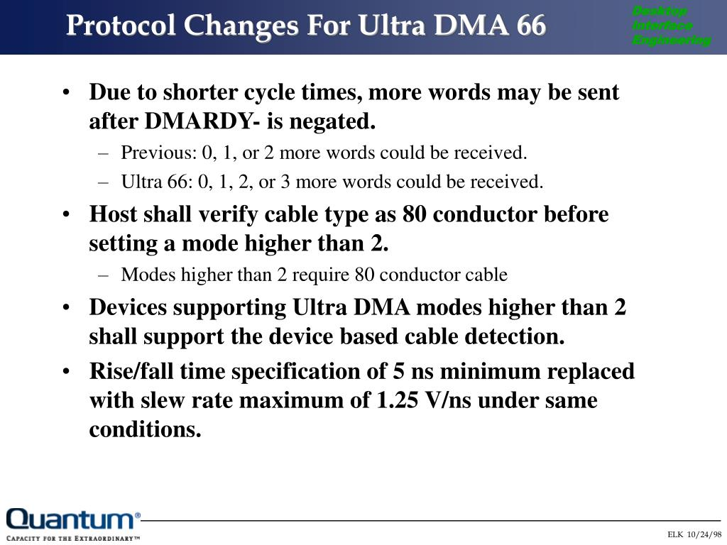 Protocol Changes For Ultra DMA 66