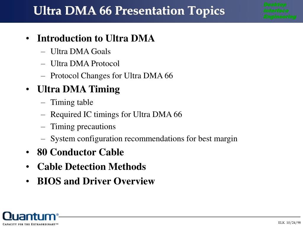 Ultra DMA 66 Presentation Topics