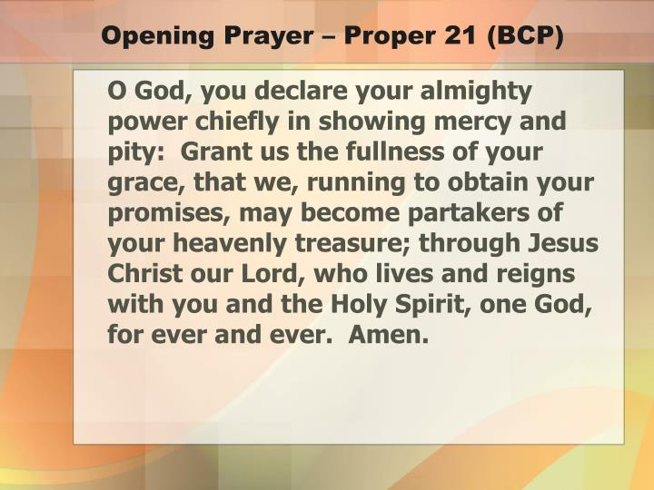 Opening Prayer – Proper 21 (BCP)