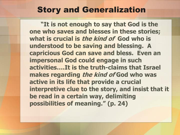 Story and Generalization
