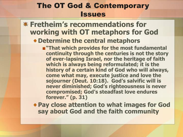 The OT God & Contemporary Issues