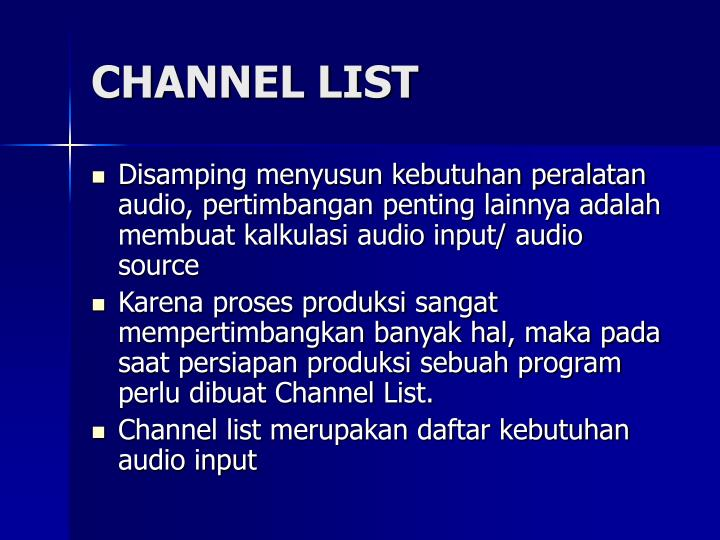 CHANNEL LIST