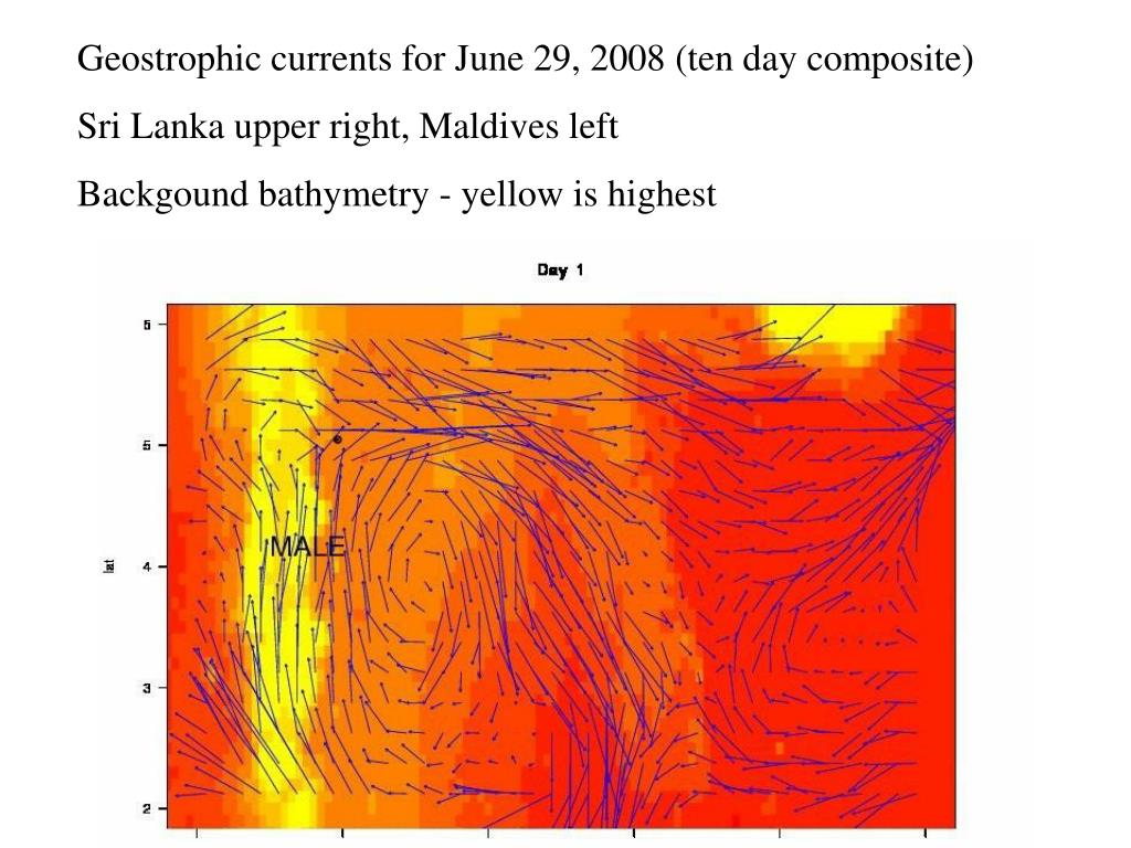 Geostrophic currents for June 29, 2008 (ten day composite)
