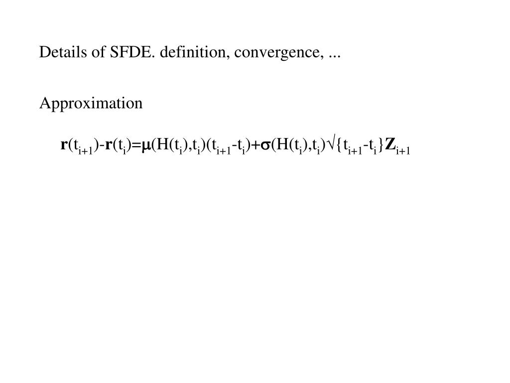 Details of SFDE. definition, convergence, ...