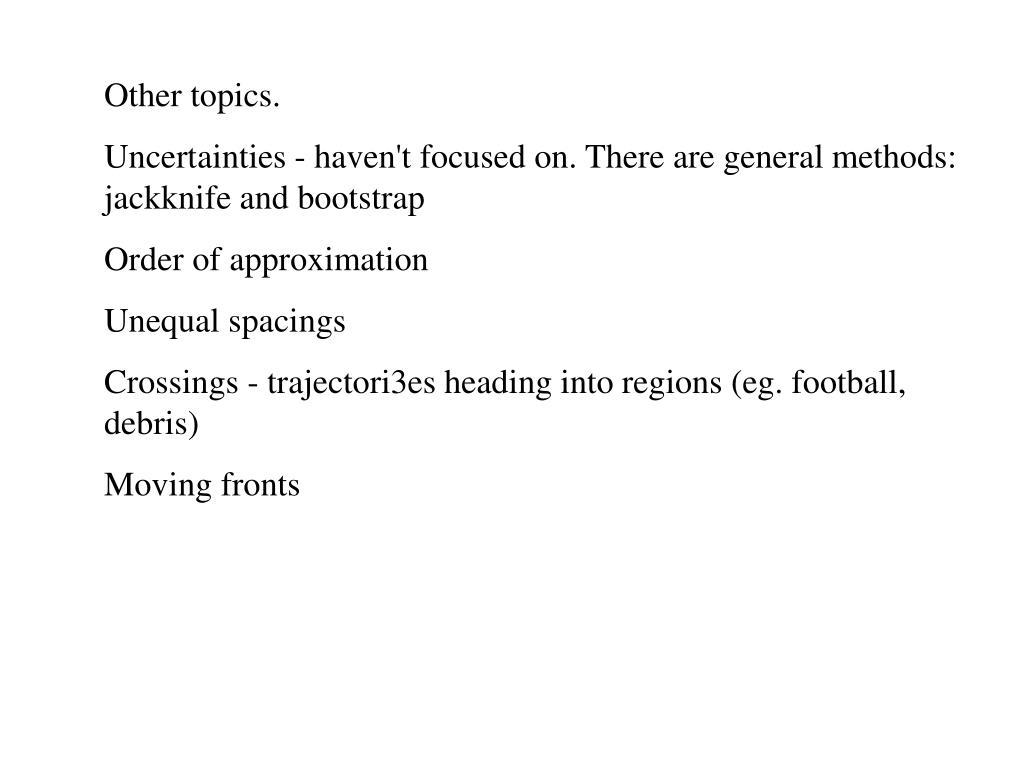 Other topics.