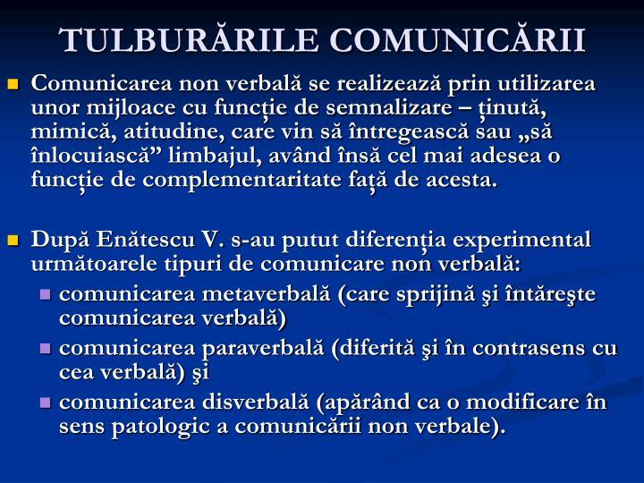 TULBURĂRILE COMUNICĂRII