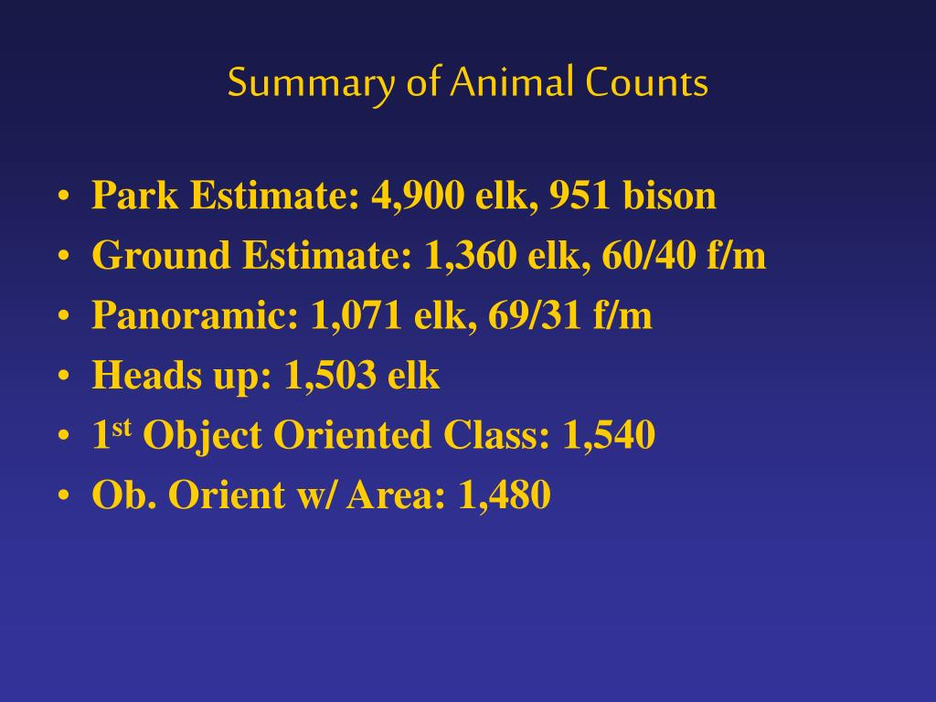 Summary of Animal Counts