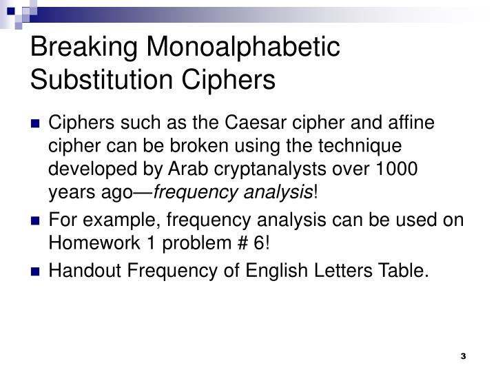 Breaking monoalphabetic substitution ciphers