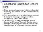 homophonic substitution ciphers cont9
