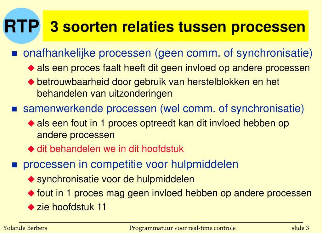 3 soorten relaties tussen processen