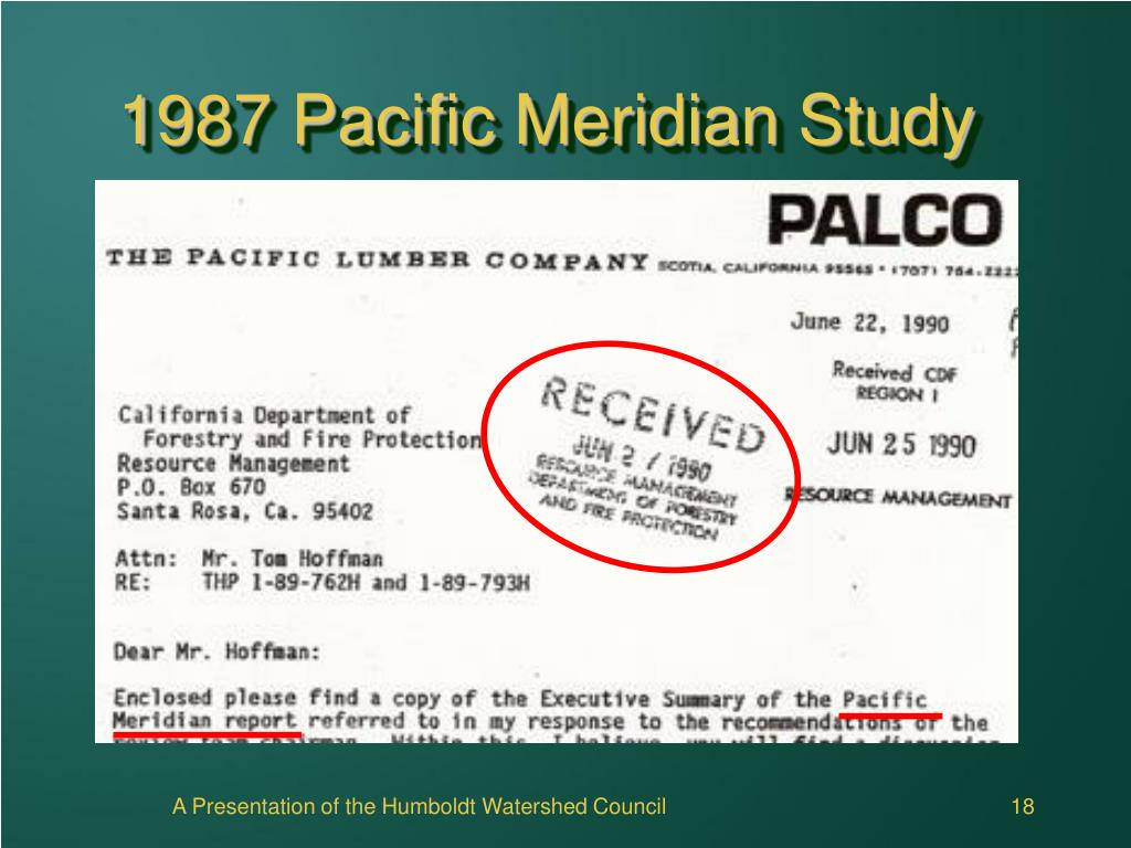 1987 Pacific Meridian Study