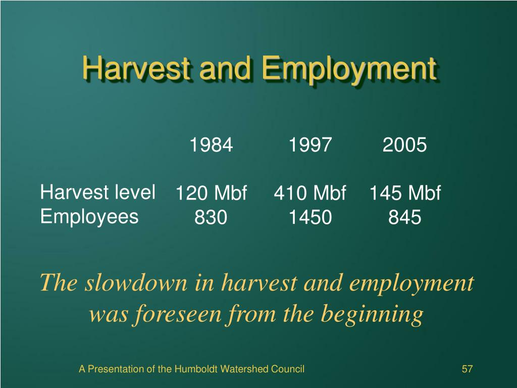 Harvest and Employment