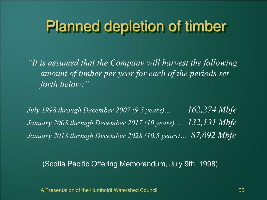 Planned depletion of timber