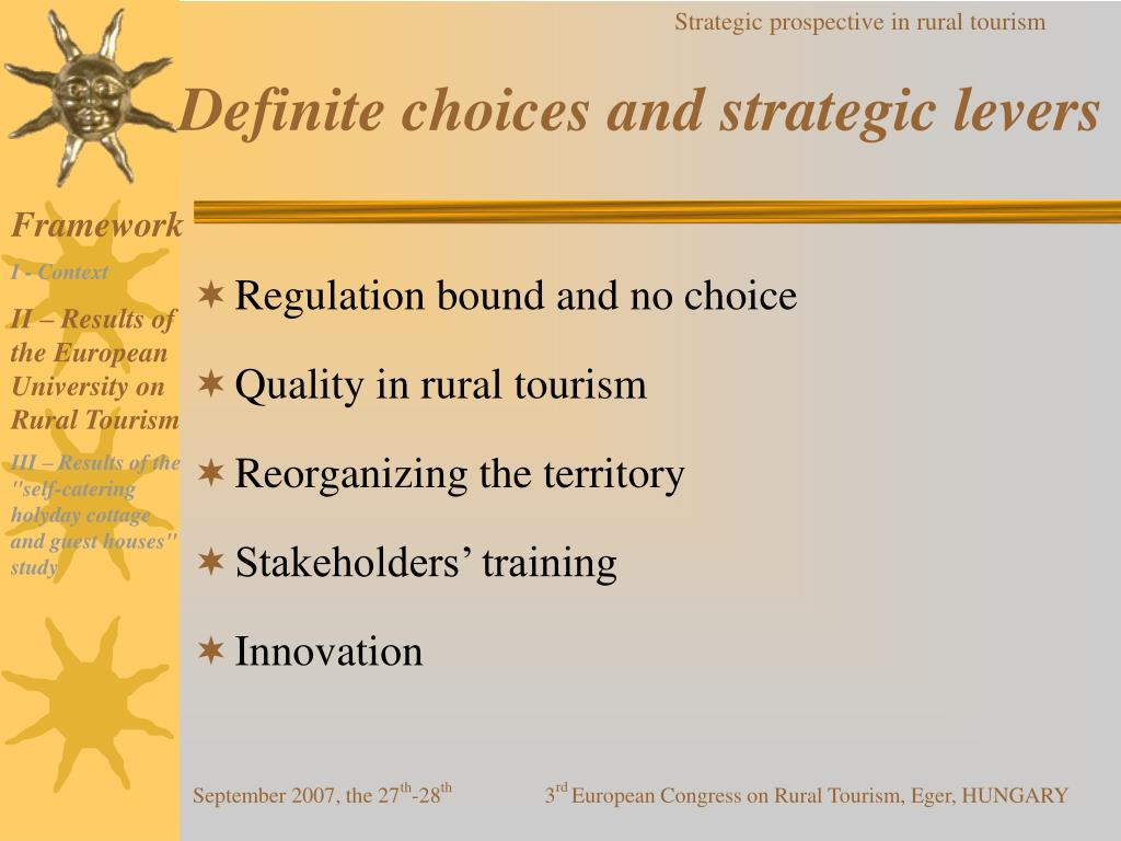 Definite choices and strategic levers