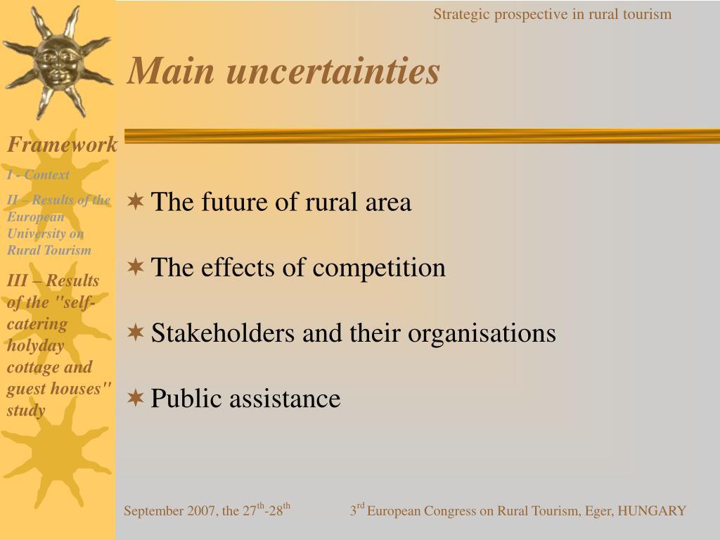 Main uncertainties