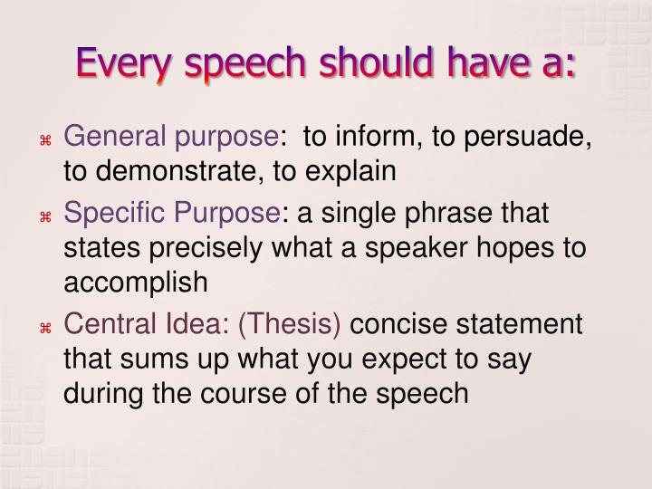 Every speech should have a: