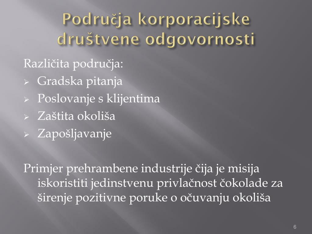 Područja korporacijske društvene odgovornosti