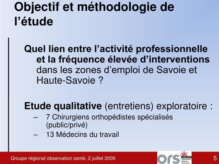 Objectif et méthodologie de l'étude