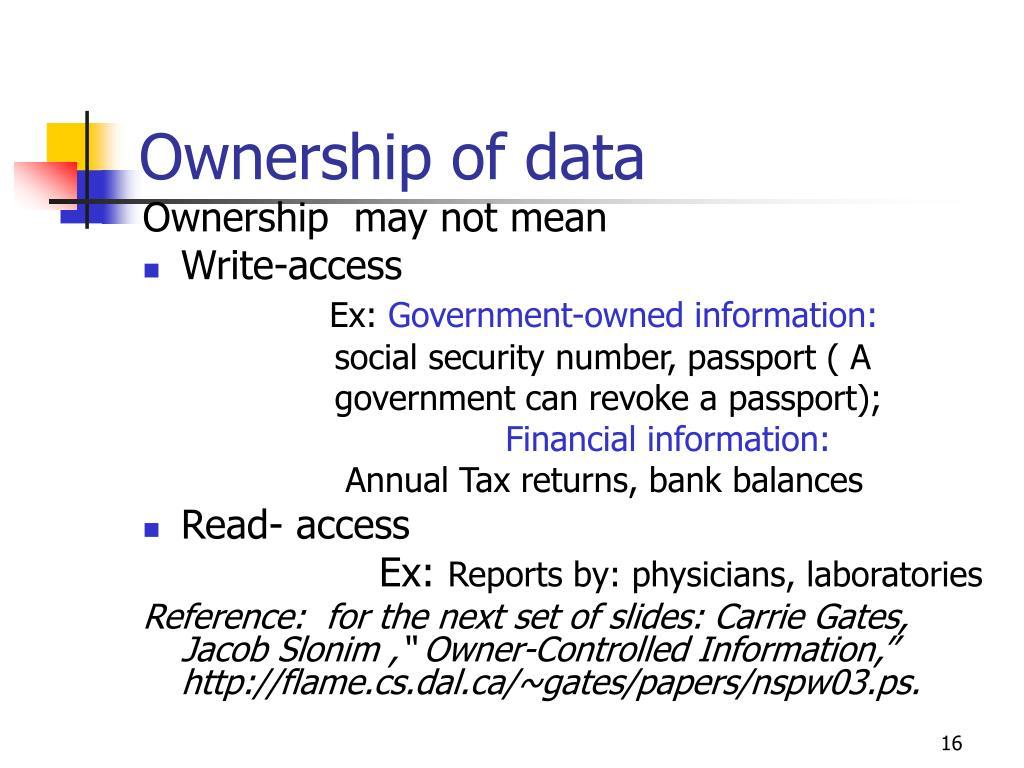 Ownership of data