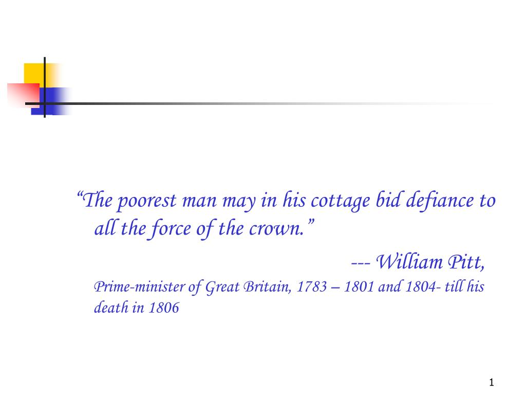 """The poorest man may in his cottage bid defiance to all the force of the crown."""