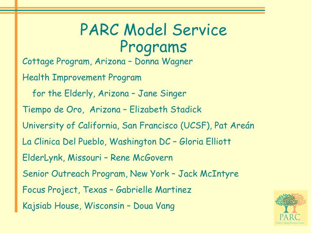 PARC Model Service Programs