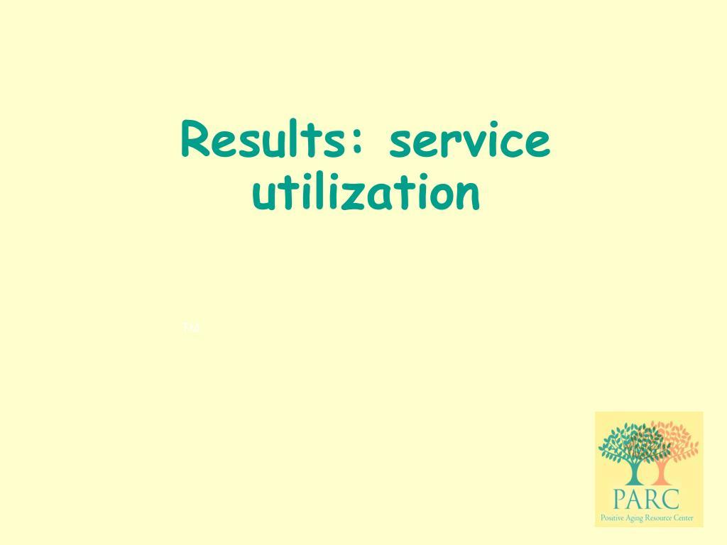 Results: service utilization