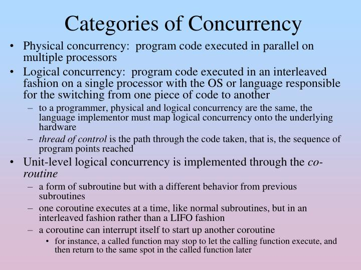 Physical concurrency:  program code executed in parallel on multiple processors