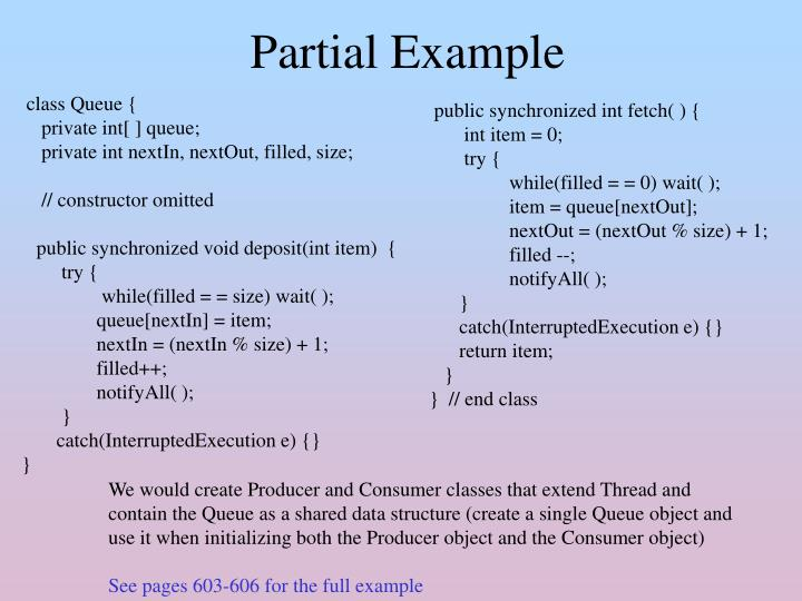 Partial Example