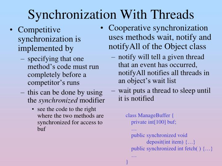 Competitive synchronization is implemented by