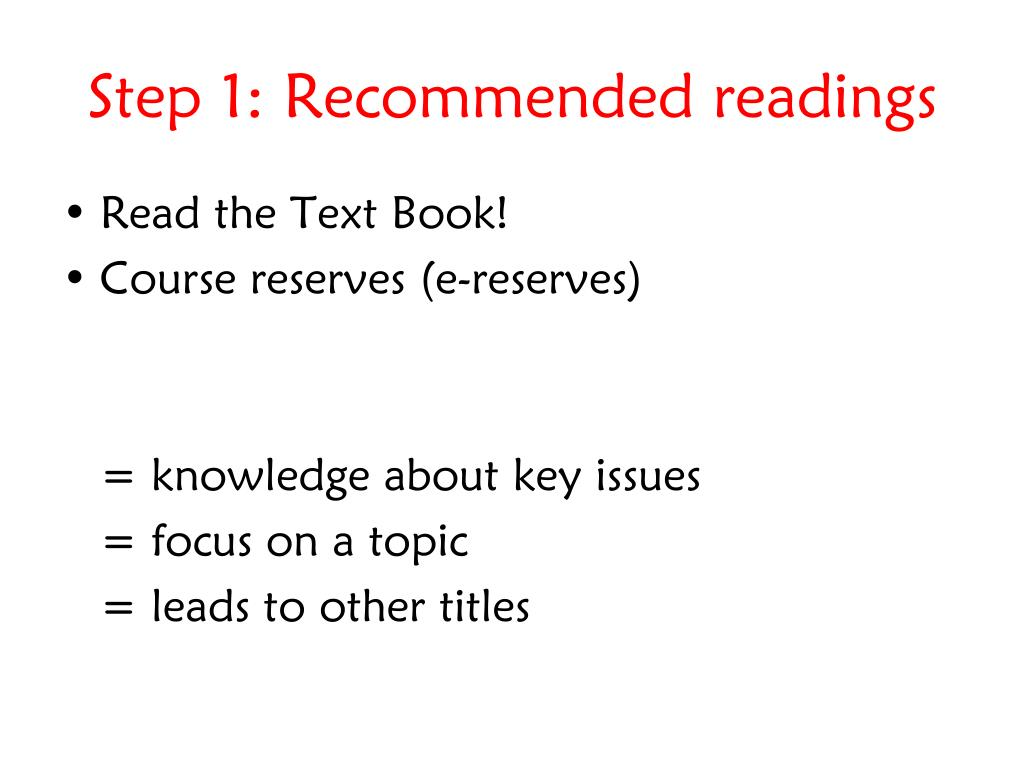 Step 1: Recommended readings
