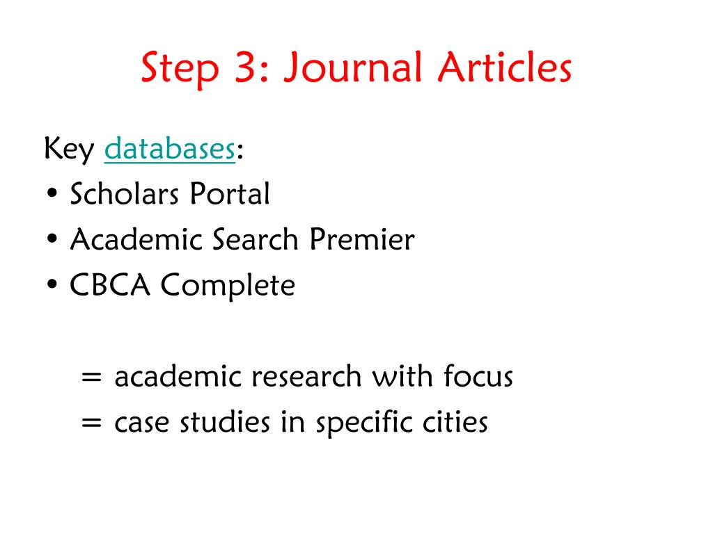 Step 3: Journal Articles