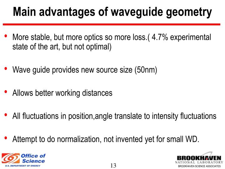 Main advantages of waveguide geometry