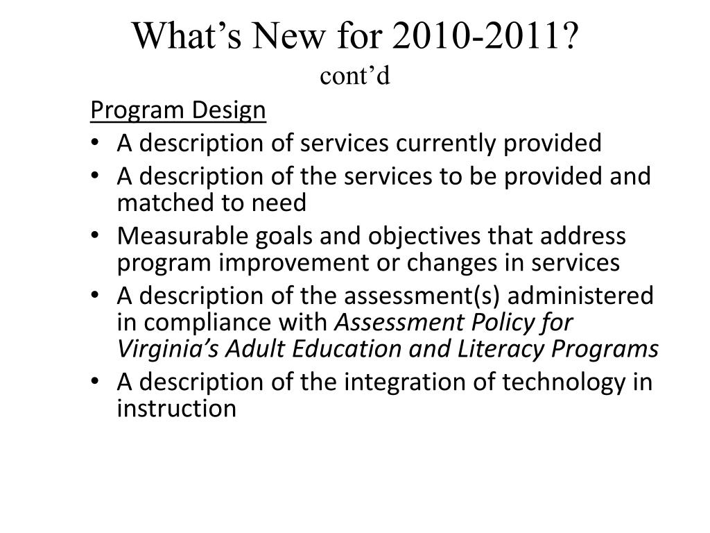 What's New for 2010-2011?