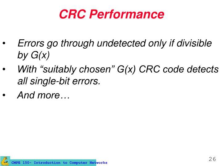 CRC Performance