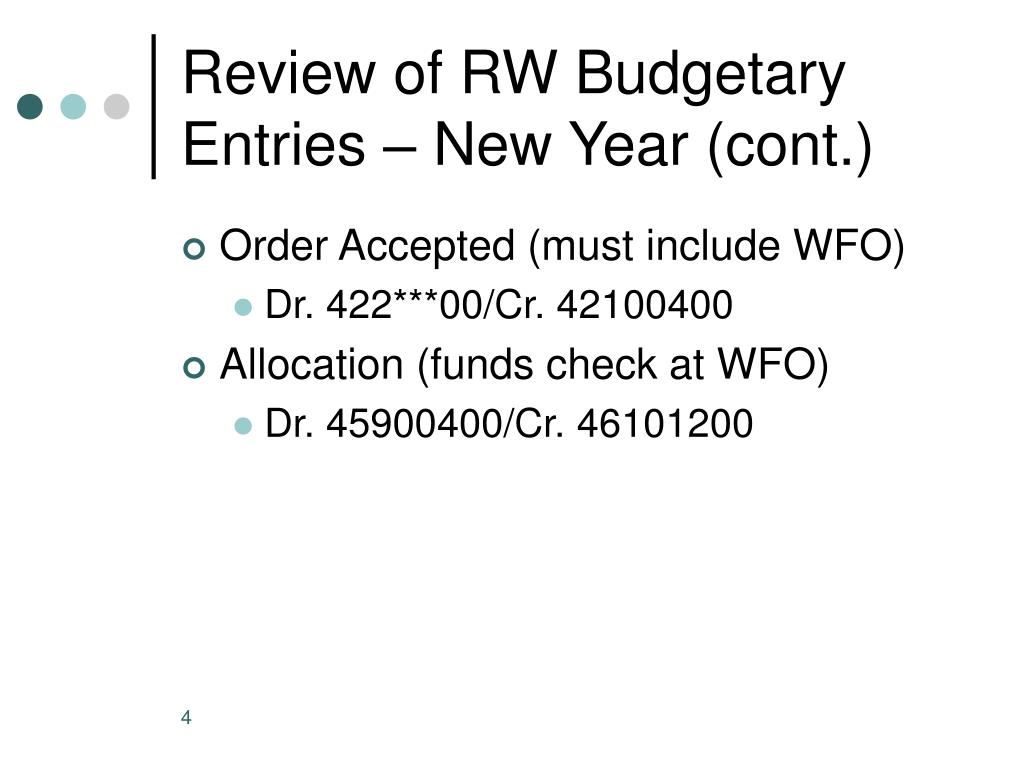 Review of RW Budgetary Entries – New Year (cont.)