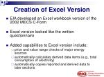 creation of excel version