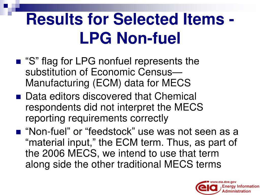 Results for Selected Items - LPG Non-fuel