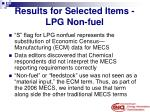 results for selected items lpg non fuel