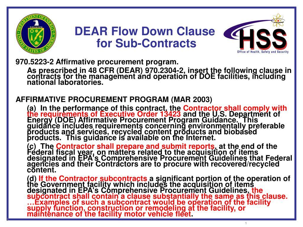 DEAR Flow Down Clause