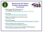 resources for green product information continued