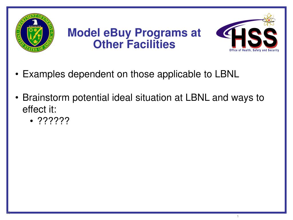 Model eBuy Programs at Other Facilities
