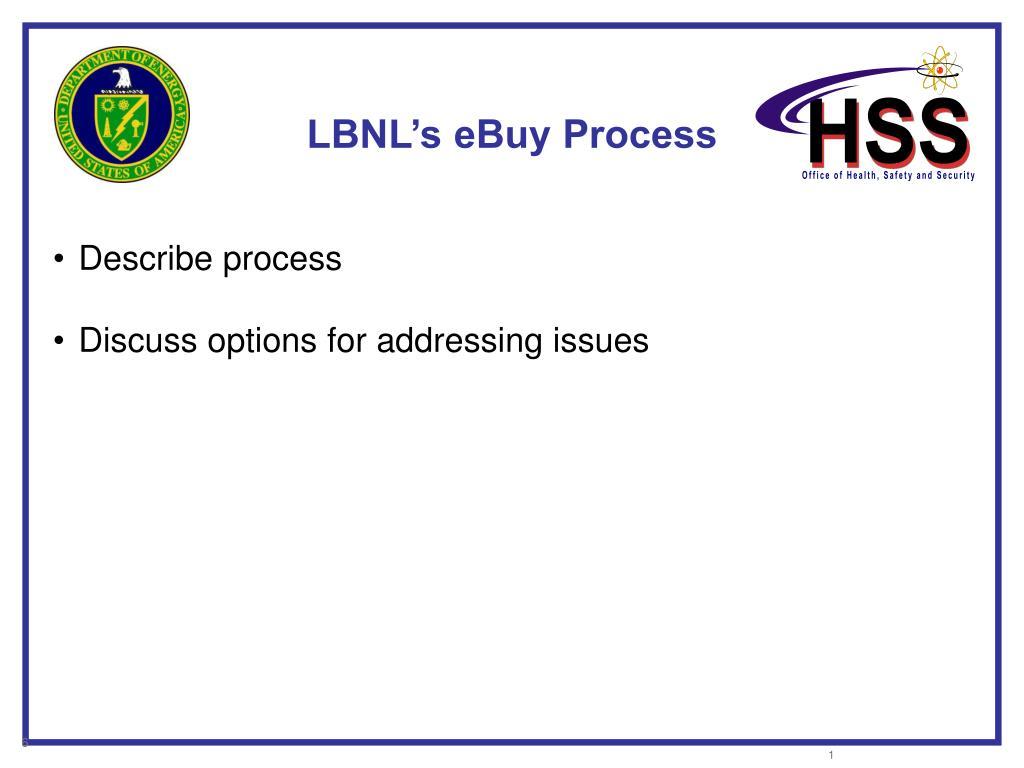 LBNL's eBuy Process