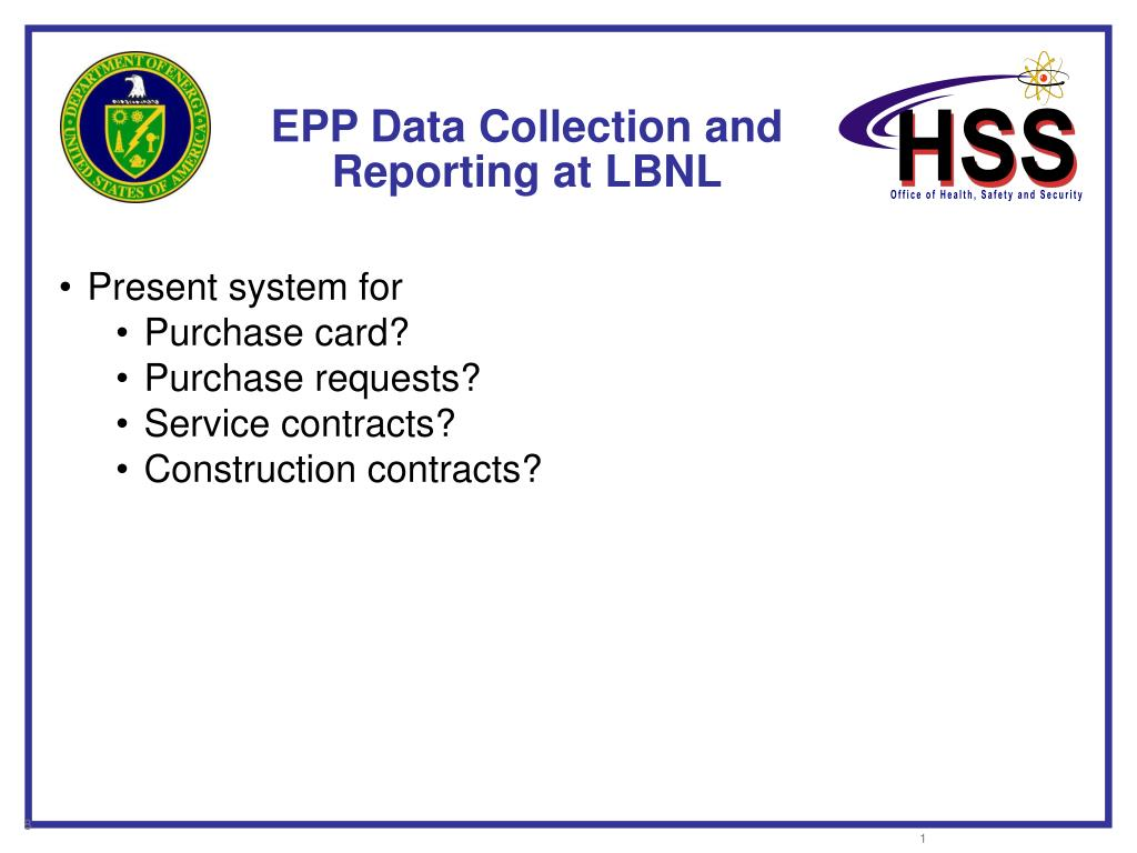 EPP Data Collection and Reporting at LBNL