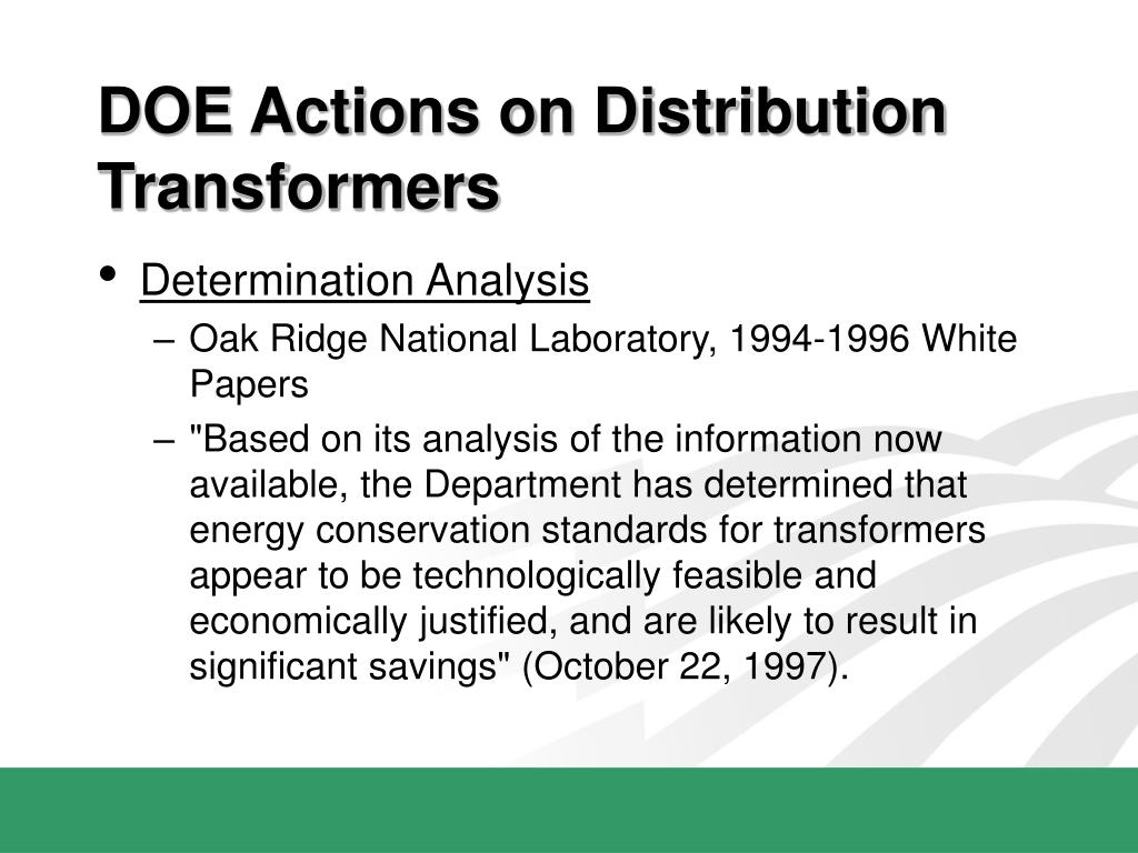DOE Actions on Distribution Transformers