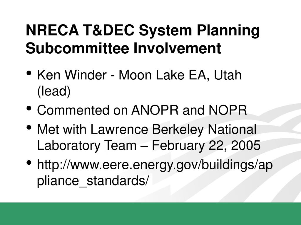 NRECA T&DEC System Planning Subcommittee Involvement