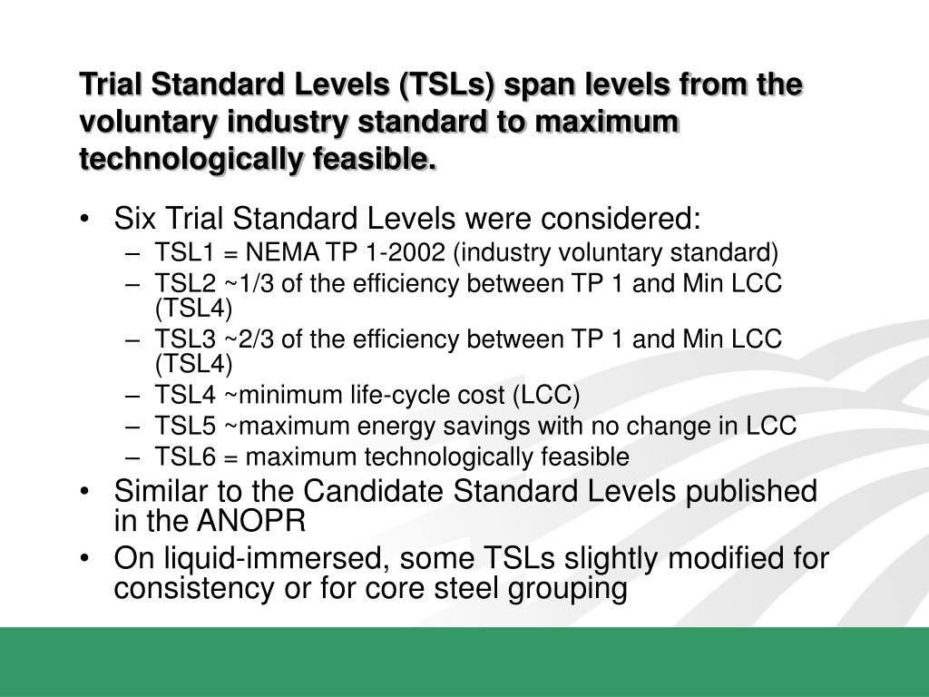 Trial Standard Levels (TSLs) span levels from the voluntary industry standard to maximum technologically feasible.